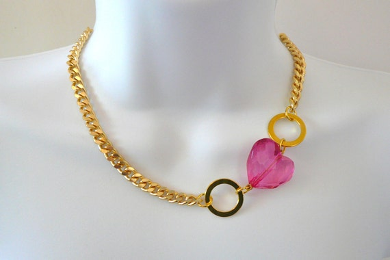Gold Chain Link Necklace with Hot Pink Faceted Heart