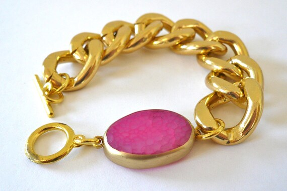 Reserved for Ines--Chunky Gold Chain Link Bracelet With Polished Bright Pink Agate
