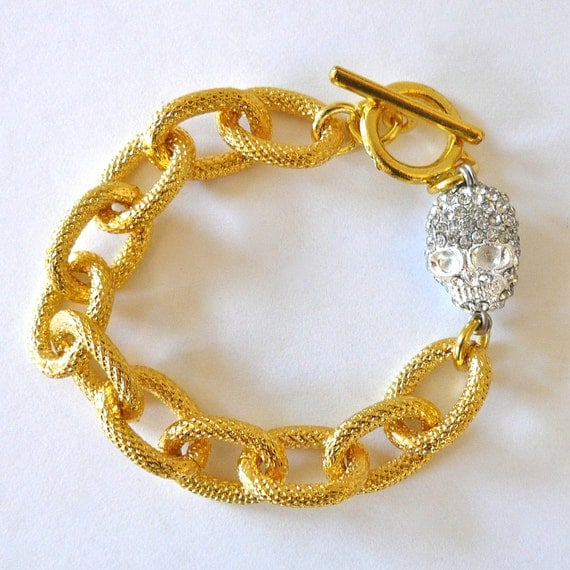 Gold Link Bracelet with Crystal Skull Charm