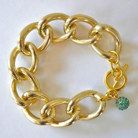 Chunky Gold Chain Link Bracelet with Turquoise Crystal Pave Charm