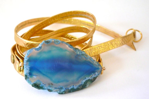 Gold Metallic Leather Wrap Bracelet with Blue Agate