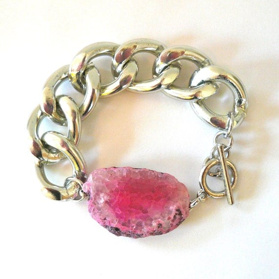 Chunky Silver Chain Link Bracelet with Bright Pink Agate