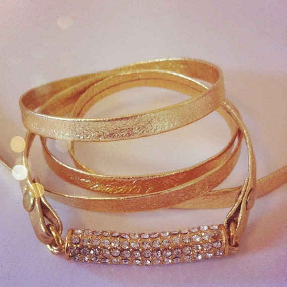 Gold Leather and Pave Wrap Bracelet