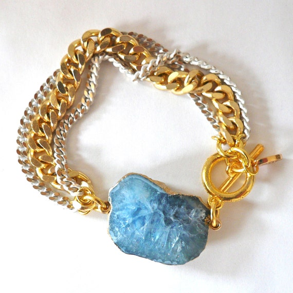 Multi Chain Bracelet with Light Blue Agate - The Fina Bracelet