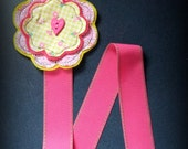 Daisy Heart Pink and Yellow Felt Flower Bow and Clippie Holder Keeper with Hot Pink Stitched Ribbon