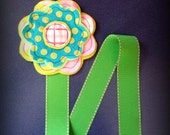 Daisy Polka Dot Felt Flower Bow and Clippie Holder Keeper with Green Stitched Ribbon