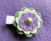 Purple Princess Felt Flower Hair Clippie