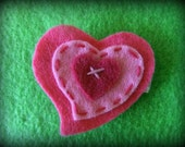 Precious Pink Layered Felt Heart Hair Clippie -- ONLY 2 LEFT