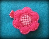 Hot Pink Embroidered Flower Felt Hair Clippie -- ONLY 3 LEFT