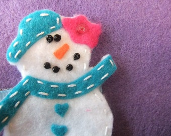 Snowman Felt Hair Bow Clippie