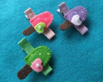 Popsicle Trio Felt Hair Bow Clip Set: Strawberry, Grape, Lime