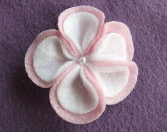 Cotton Candy Pink and White Flower Loops Felt Hair Bow Clip