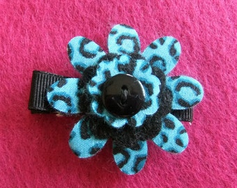 Black and Bright Blue Leopard Print Felt and Fabric Flower Hair Bow Clip