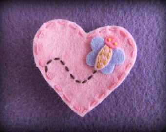 Pink Butterfly Heart Felt Hair Bow Clip
