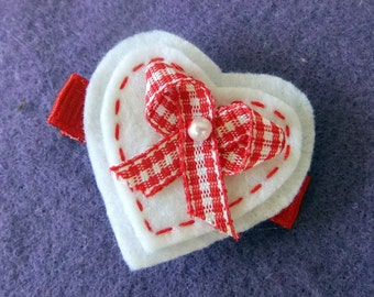 Red and White Gingham Heart Hair Bow Clip