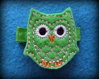 Bright Green and Pink Owl Embroidered Felt Hair Bow Clip