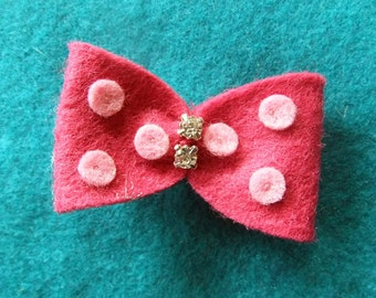 Bright Pink Hair Bow with Baby Pink Polka Dots Felt Hair Bow Clip