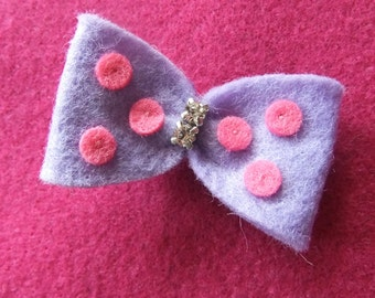 Purple with Pink Polka Dots and Rhinestones Felt Hair Bow Clip