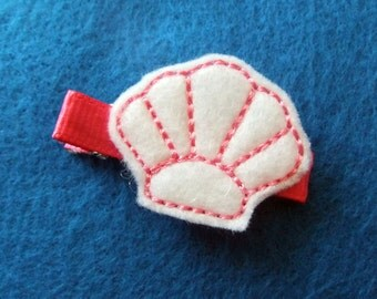 White and Pink SeaShell Felt Hair Bow Clip