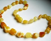 Olive White beads Baltic Amber teething necklace for your baby handmade knotted .High quality amber.