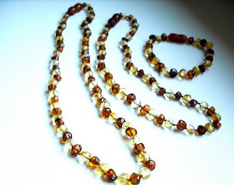 Honey and Light  rounded   Baltic Amber  Baby Teething Necklace with Bracelet and  similar remedy   Mommy necklace.
