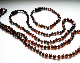 Cognac  Colored Baroque Shape Natural  Baltic Amber Baby Teething Necklace with Bracelet  for baby and Similar Remedy necklace for Mommy.