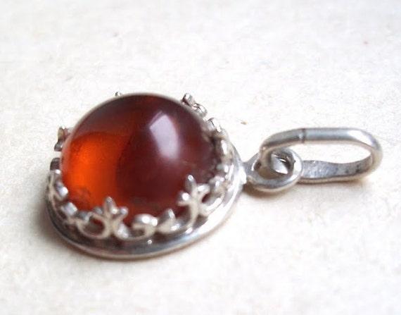 Sterling Silver  925 Cognac colour  Baltic Amber Pendant.