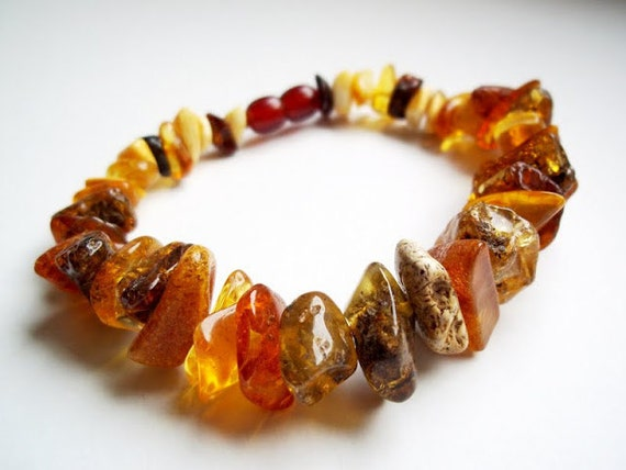 Multicolored  BALTIC  AMBER  BRACELET  8.3  inches.