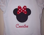 Minnie Mouse or Mickey Mouse applique T-shirt or onesie with Disney font