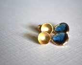 Blue Sapphire Faceted Glass Pendants in Bright Gold Plated Frames on Matte Gold Plated Organic Round Stud Earrings FEG0005S