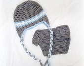 Crochet Baby Hat Heather Grey/Soft Blue/White Earflap and Diaper Cover Set Newborn MADE TO ORDER