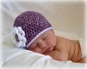 Crochet Baby Beanie Newborn to 5T Flower Hat Purple Mist/White - MADE TO Order