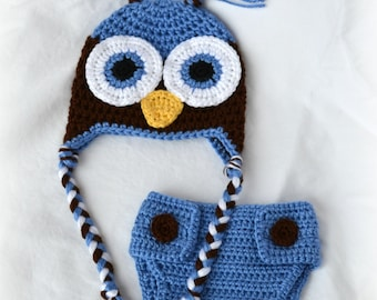 Crochet Baby Owl Hat and Diaper Cover Set Newborn Blueberry/Chocolate MADE TO ORDER