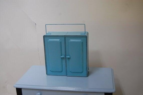Vintage blue metal storage cabinet
