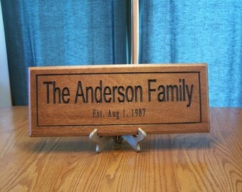 7 x 18  Family Name Sign, personalized with the information you give