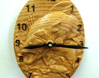 Bass leaping oval Wall Clock