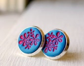 pink and blue stamped polymer clay on silver post earrings