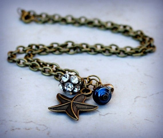 SALE 20% off sea star nautical charm necklace