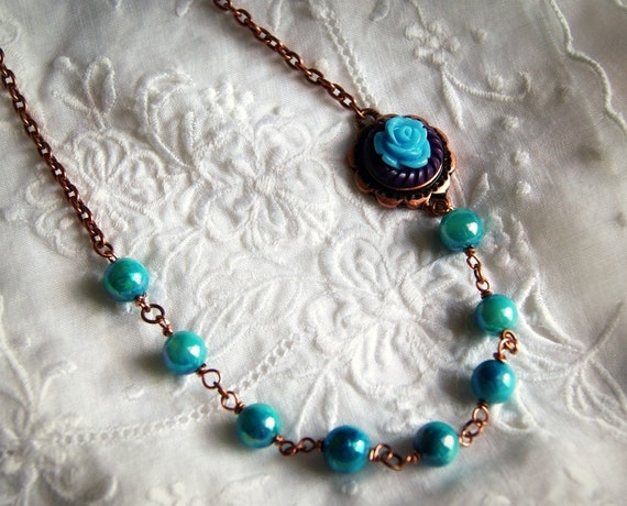 SALE beaded necklace aqua blue shell and flower on copper chain