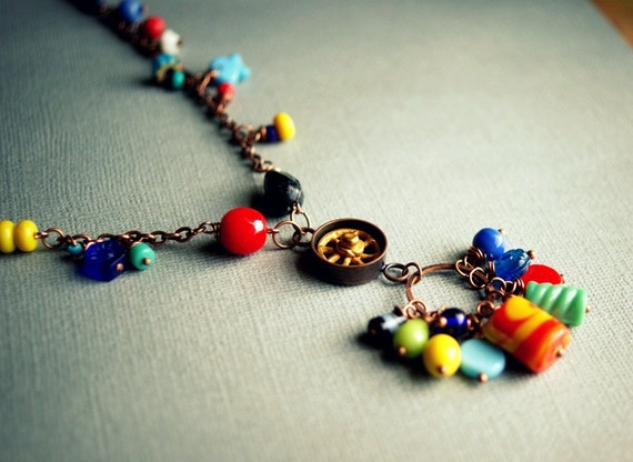 colorful charm necklace eclectic beads on copper