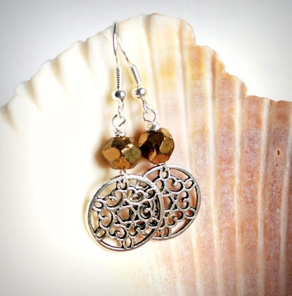 SALE beaded earrings rustic gold and silver filigree discs