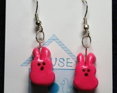 Pink Peep Bunny Earrings for Easter and Spring