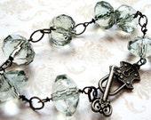 Sparkling Sea Bracelet...Lock and Key...Skeleton...Ocean Wave...Beach...Treasure...Chunky Bracelet...Gunmetal