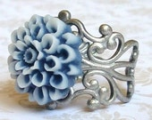 Nautical Flower Ring, Blue and White Flower, Two Toned, Adjustable Band, Antique Silver