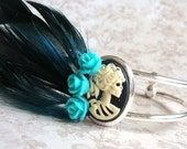 Zombie Cameo Cuff, LAST CHANCE Sale, Bracelet, Teal Roses, Blue Feathers