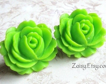 Lime Flower Earrings, Bohemian Fashion, Surgical Steel Posts, Comfort Disc Backings