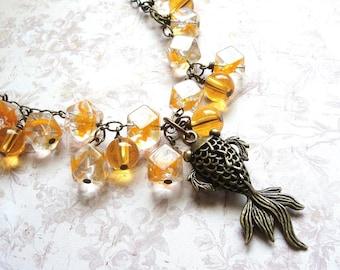 Goldfish Necklace, Bright Orange, Long Length, Koi Pond, Fashion