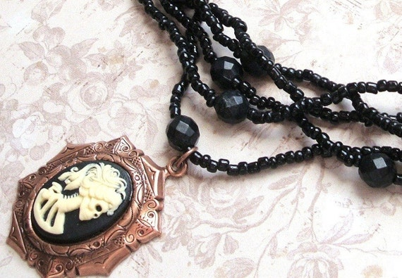 Zombie Cameo Necklace, Skull Goddess in Black and Ivory, Beaded