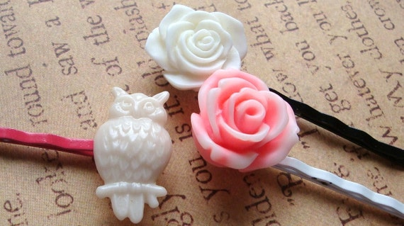 Bobby Pins, Hair Flowers, Hair Clips, White Owl, White Rose, Pink Flower - Set of Three (3)