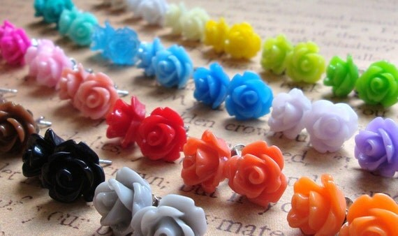 FIVE Pairs of Rose Earrings. 31 Colors To Choose From.  Rainbow.  Choose Your Own Mix.  15% OFF